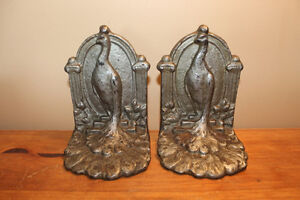 Pair of Old Peacock Bookends