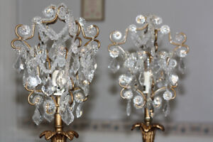 pair of beaded crystal chandelier style table lamps