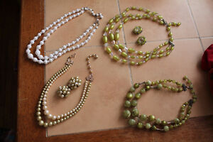 beaded necklaces and clip on earrings lot