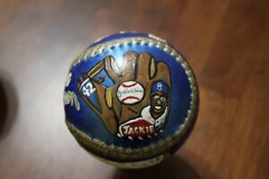 Jackie Robinson hand painted baseball by Artist
