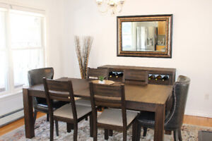Like new Trudell extension dining room table and matching server