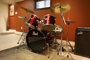 FS: Pearl Drum Kit (with upgraded snare, double kick, & cymbals)