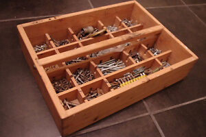 """Handmade Wooden Tool Nail Compartment Box 15 x 11 x 3.5"""""""