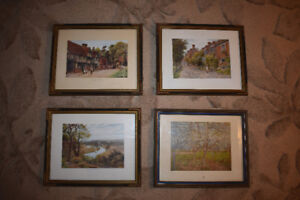Set of 4 Old English Art Prints in Frames