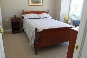 Hardwood Double Bed Frame, 2 Dressers, Night Table, Mirror