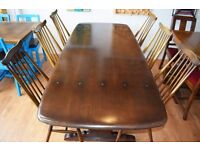 Ercol Dining Table with 6 Ercol Goldsmith Chairs