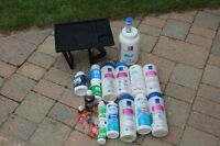 assortment of spa water treatment chemicals