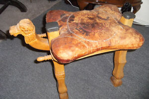 ANTIQUE CAMEL SADDLE USE AS A STOOL (very unique)