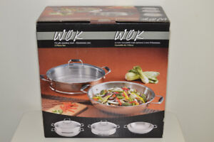 Costco 3 piece Stainless Steel Wok and Steamer Set - New