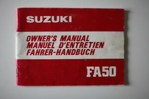 SUZUKI FA 50 Owners Manual 1980