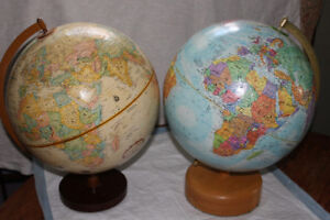 2 world globes. Quite good condition