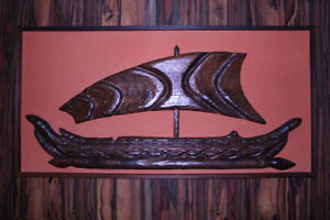 Wood Wall Relief Carving of Boat