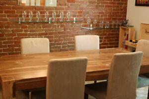 Table bois d'acacia exotique 94x44 (800$) Artemano