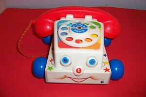 Vintage Fisher Price Chatter Pull Along Phone