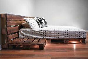 Lit double ou queen en bois de palette - 1 étage - L'Essentiel