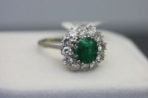 18K White Gold Emerald and Diamond Ring Size 7.5 (#2014)