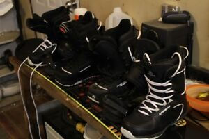 Snowboard with bindings and boots.