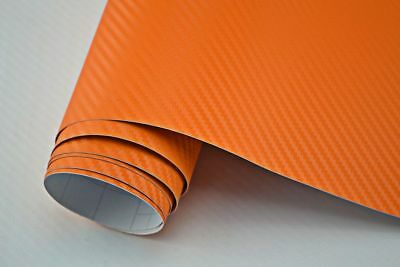 4,90€/m²  3D Carbon Folie orange blasenfrei 2000 x 152cm Klebefolie Carbon Optik