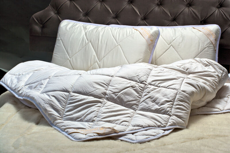 100 merino wool stepp bettdecke king size 220x230 2 wolle kissen 45 75cm ebay. Black Bedroom Furniture Sets. Home Design Ideas