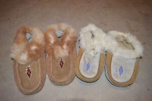 genuine leather moccasins with rabbit fur edging 2/$15