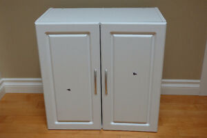 White wall-mounted two door cabinet, 2 shelves