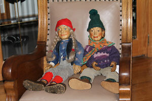 2 Antique Hand Carved Folk Art Dolls