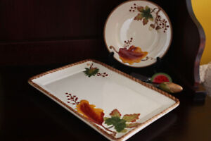 Decorative Fall Dishes and 2 Pate Knives