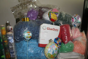 Huge Gift Basket Supplies New Cello Sizzle, Glue Dots Newsprint