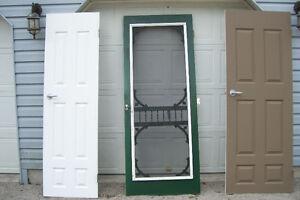 THREE SOLID WOOD DOORS TWO INTERIOR ONE FANCY SCREEN DOOR London Ontario image 3