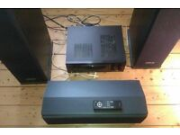 Home theatre package with 5 Polk Audio Speakers and Kenwood Audio Receiver – Excellent condition