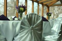 White Satin Universal Chair Covers - 1.25 rental - wedding/event