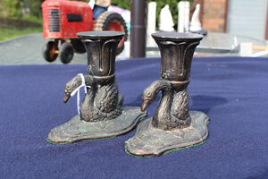 VINTAGE CAST IRON SWAN CANDLESTICK HOLDERS