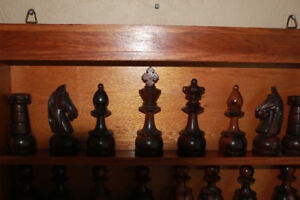 Hand Made Wood Chess Board and  Hand carved Chess People