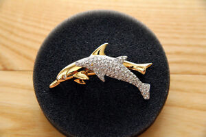 Swarovski Gold Plated and Crystal Dolphin Brooch ★PRISTINE★