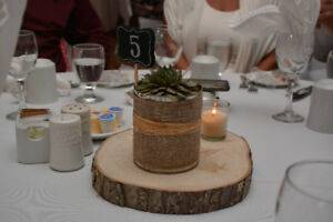 Live Edge Round Wood Slab Centrepieces (10 in total)