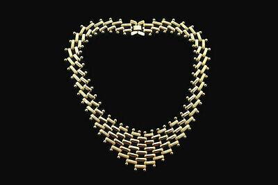 VINTAGE GOLD TONE & WHITE LEAF PRONGSET THERMOSET PLASTIC CHOKER NECKLACE Gold Plastic Necklace