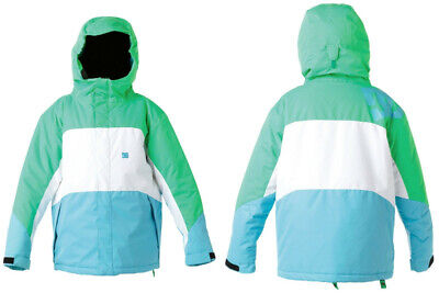 DC  Farah K Ski Snow Winter Snowboard Jacket White Green Blue Size L New tags!