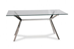 RECTANGULAR GLASS AND CHROME DINING TABLE - $360