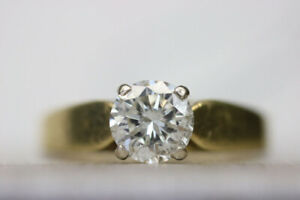 $5,800 Value Solitaire Diamond Ring 18k Yellow Gold (#2154)