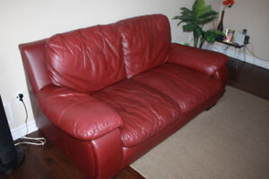 Loveseat and sofa chair   leather