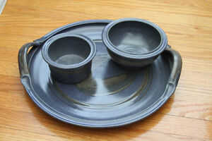 artisinal serving tray and bowls