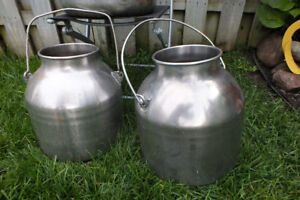 2 stainless Cream Milk Cans . great planter units