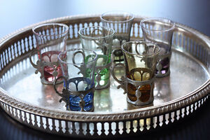 Vintage Elegance Silver Plated Tray with cordial/shooter glasses