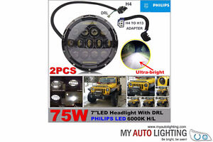 Pair of 7 Inch PHILIPS 75W LED Headlight JEEP Hummer JK H4 H13