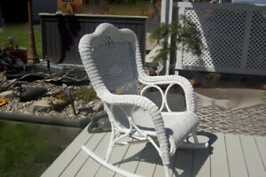 White Wicker Rocking Chair for patio or indoors
