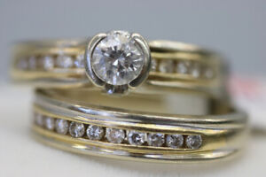 14-18K White & Yellow Gold Wedding Ring Set Size 5 (#14611)