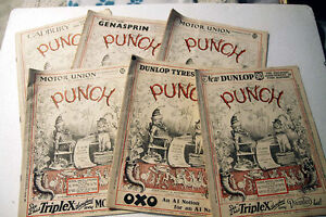 Six copies of Punch Magazine from, from 1932 and 0935