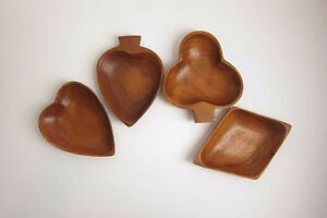 Monkeypod Wood Bowl Set of Four Card Suits
