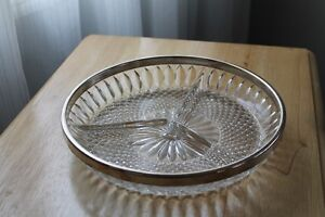 1950s pressed glass divided serving plate