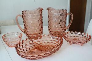 Lot de vaisselle de verre dépression rose